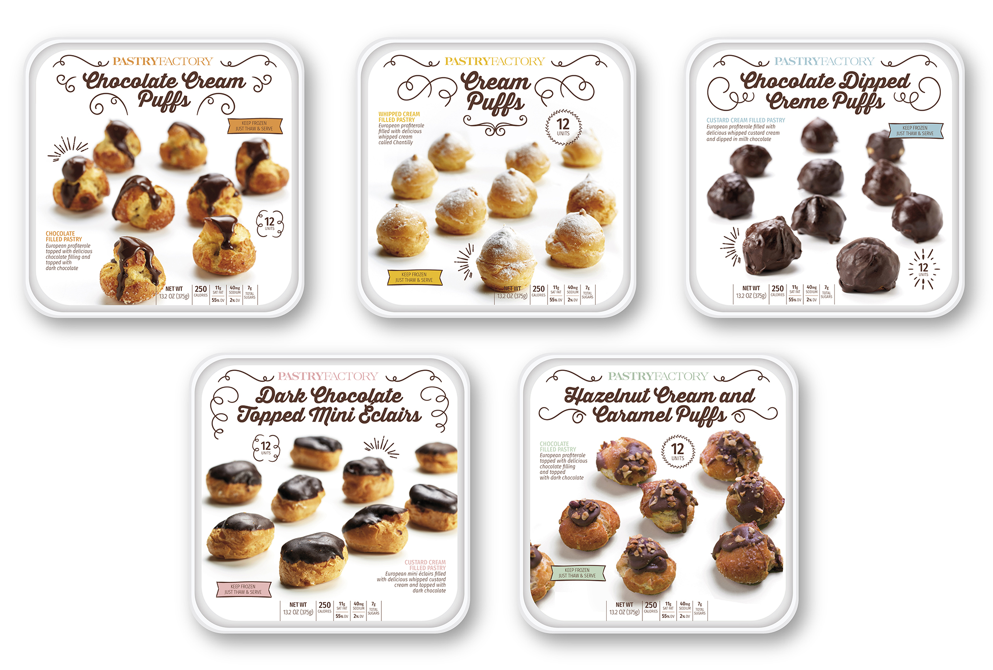Pastry Factory Cream Puffs – Packaging design